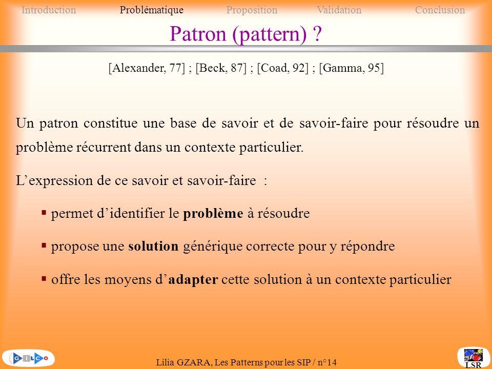 Lilia GZARA, Les Patterns pour les SIP / n°14 LSR Patron (pattern) .