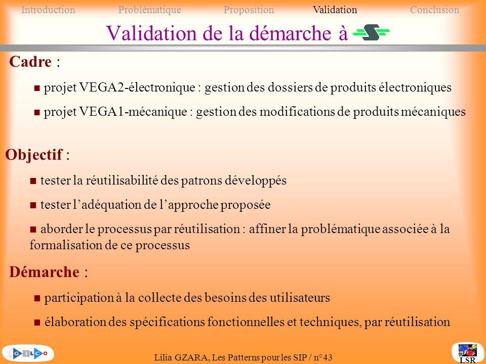 Lilia GZARA, Les Patterns pour les SIP / n°43 LSR Validation de la démarche à Objectif : n tester la réutilisabilité des patrons développés n tester ladéquation de lapproche proposée n aborder le processus par réutilisation : affiner la problématique associée à la formalisation de ce processus Cadre : n projet VEGA2-électronique : gestion des dossiers de produits électroniques n projet VEGA1-mécanique : gestion des modifications de produits mécaniques Démarche : n participation à la collecte des besoins des utilisateurs n élaboration des spécifications fonctionnelles et techniques, par réutilisation IntroductionProblématique PropositionValidationConclusion
