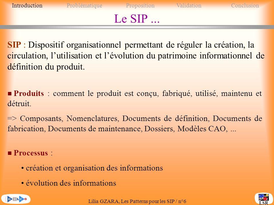 Lilia GZARA, Les Patterns pour les SIP / n°6 LSR Le SIP...