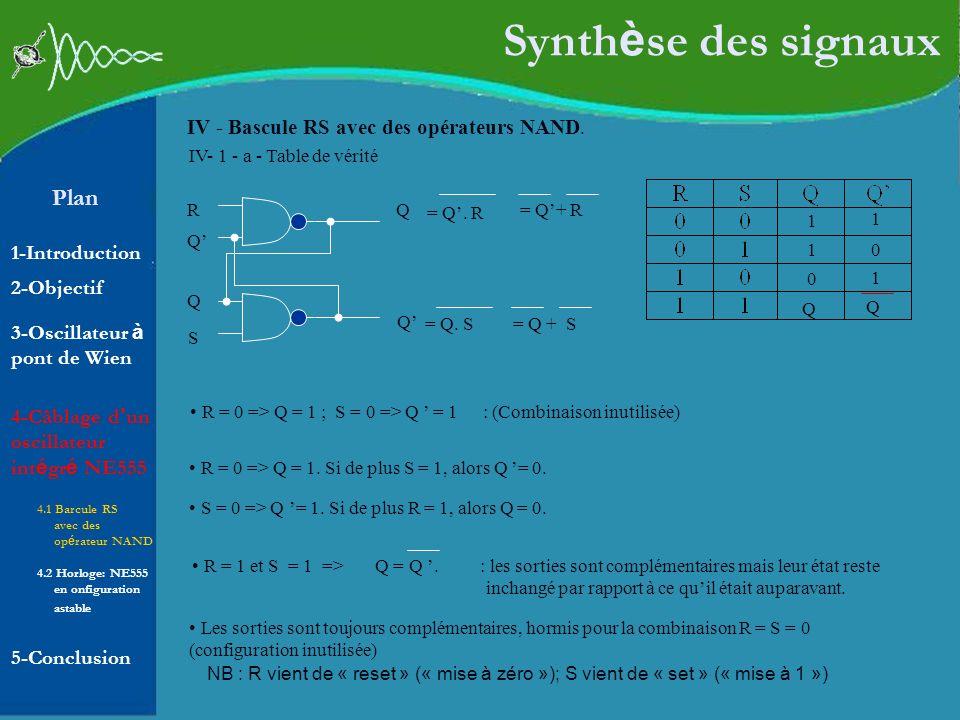 Plan 1-Introduction 2-Objectif Synth è se des signaux IV - Bascule RS avec des opérateurs NAND. 10 R = 0 => Q = 1 ; S = 0 => Q = 1 : (Combinaison inut