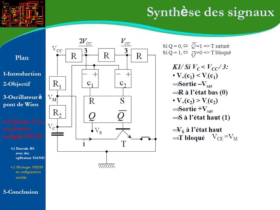 Plan 1-Introduction 2-Objectif Synth è se des signaux Si Q = 0, =1 => T saturé Si Q = 1, =0 => T bloqué K1/ Si V C < V CC / 3: V + (c 1 ) < V - (c 1 )