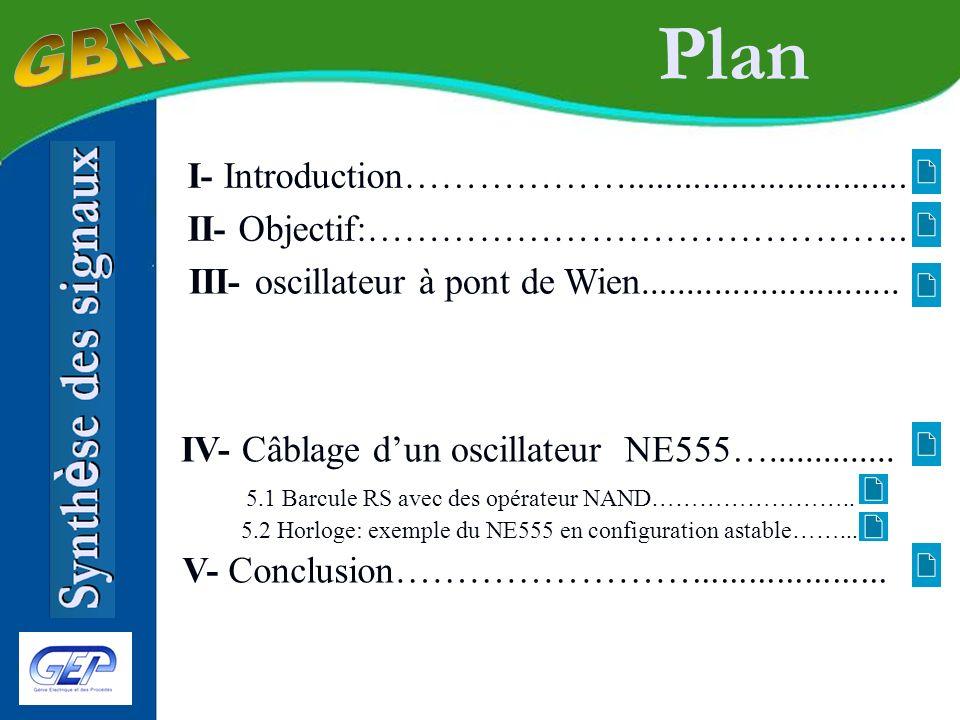 Plan 1-Introduction 2-Objectif 3-Oscillateur à pont de Wien Synth è se des signaux 4-Câblage d un oscillateur int é gr é NE555 5-Conclusion 4.1 Barcule RS avec des op é rateur NAND 4.2 Horloge: NE555 en onfiguration astable Production et traitement de signaux é lectriques tels que des signaux de t é l é vision, des information audio,etc.