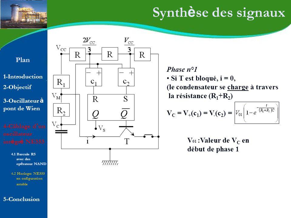 Plan 1-Introduction 2-Objectif Synth è se des signaux Phase n°1 Si T est bloqué, i = 0, (le condensateur se charge à travers la résistance (R 1 +R 2 )