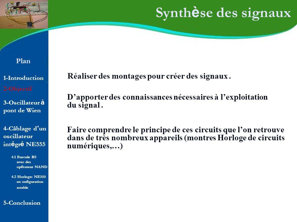 Plan 1-Introduction 2-Objectif Synth è se des signaux Réaliser des montages pour créer des signaux. Dapporter des connaissances nécessaires à lexploit