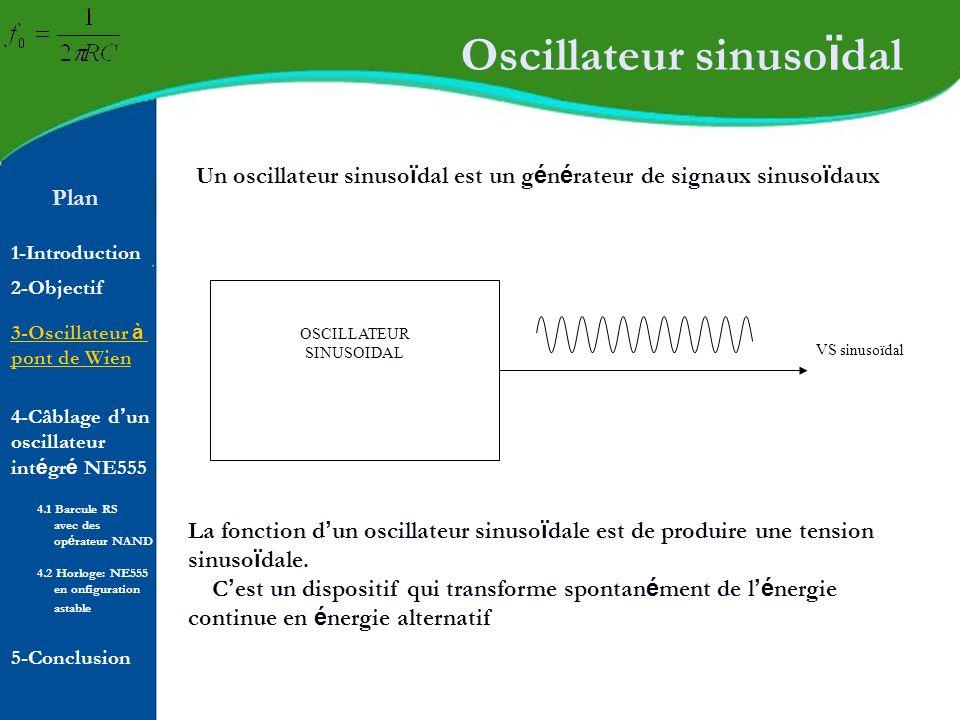 Plan 1-Introduction 2-Objectif Principe de fonctionnement AMPLIFICATEUR Réseau de réaction VS (sinusoïdal) (SORTIE) VR 4-Câblage d un oscillateur int é gr é NE555 5-Conclusion 4.1 Barcule RS avec des op é rateur NAND 4.2 Horloge: NE555 en onfiguration astable 3-Oscillateur à pont de Wien