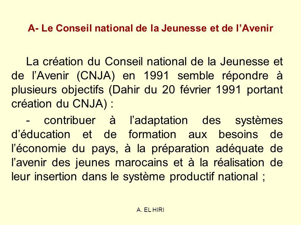 A. EL HIRI A- Le Conseil national de la Jeunesse et de lAvenir La création du Conseil national de la Jeunesse et de lAvenir (CNJA) en 1991 semble répo