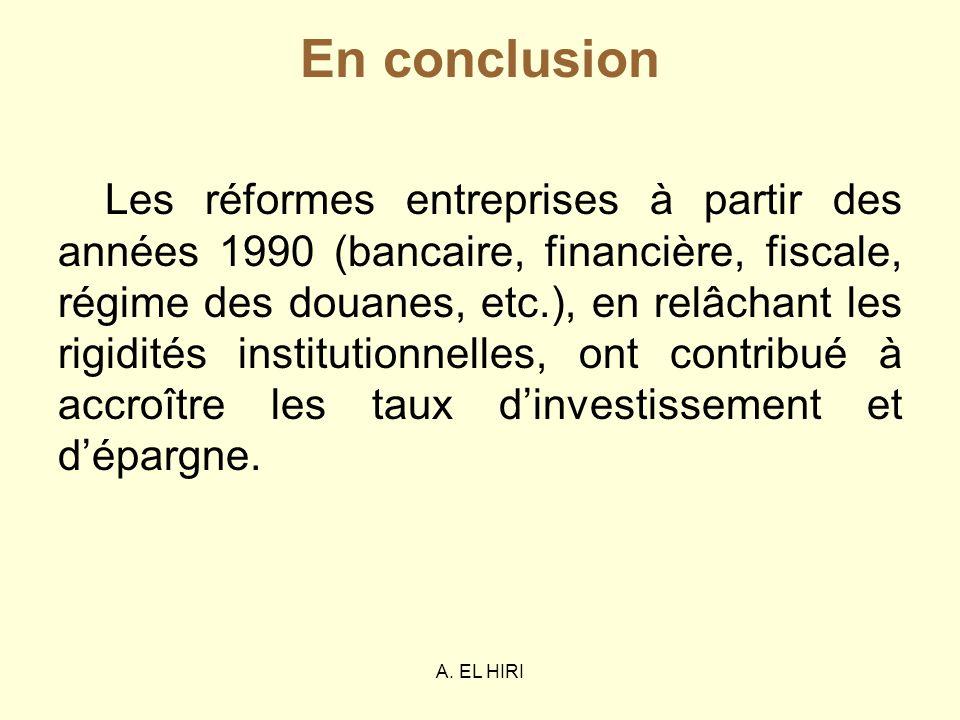 A. EL HIRI En conclusion Les réformes entreprises à partir des années 1990 (bancaire, financière, fiscale, régime des douanes, etc.), en relâchant les
