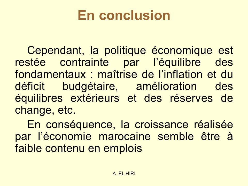 A. EL HIRI En conclusion Cependant, la politique économique est restée contrainte par léquilibre des fondamentaux : maîtrise de linflation et du défic