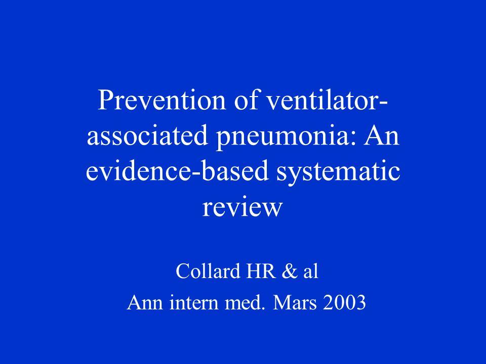 Introduction Pneumopathie acquise sous ventilation mécanique: - morbidité importante en réanimation - Incidence de 10 à 25% - Mortalité brute de 10 à 25% - Mortalité attribuable de 5 à 27% - de la durée de séjour et du coût dhospitalisation