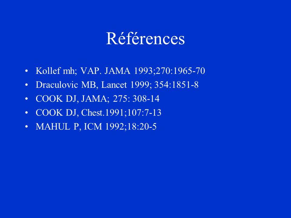 Références Kollef mh; VAP. JAMA 1993;270:1965-70 Draculovic MB, Lancet 1999; 354:1851-8 COOK DJ, JAMA; 275: 308-14 COOK DJ, Chest.1991;107:7-13 MAHUL