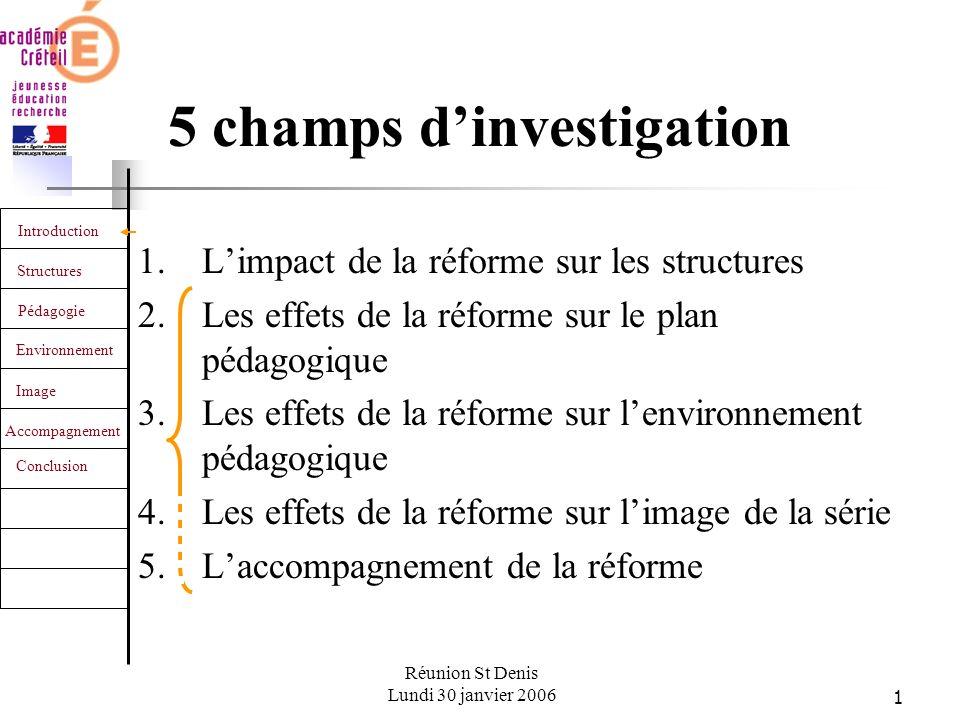 22 Introduction Structures Pédagogie Environnement Image Accompagnement Conclusion Réunion St Denis Lundi 30 janvier 2006 Laccompagnement de la réforme Les attentes au niveau national 1.