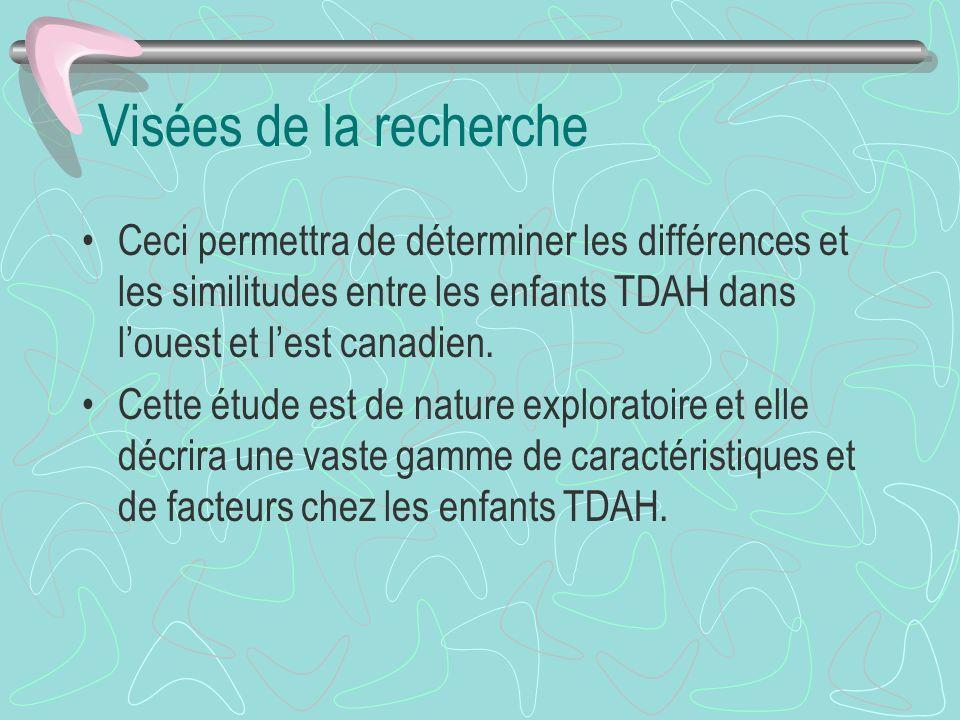 Visées de la recherche Ceci permettra de déterminer les différences et les similitudes entre les enfants TDAH dans louest et lest canadien.