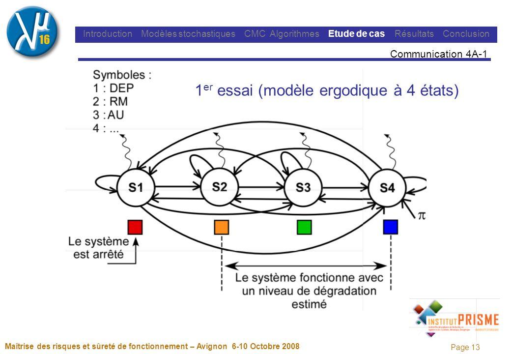 Page 13 Maîtrise des risques et sûreté de fonctionnement – Avignon 6-10 Octobre 2008 Introduction Modèles stochastiques CMC Algorithmes Etude de cas Résultats Conclusion Communication 4A-1 1 er essai (modèle ergodique à 4 états)