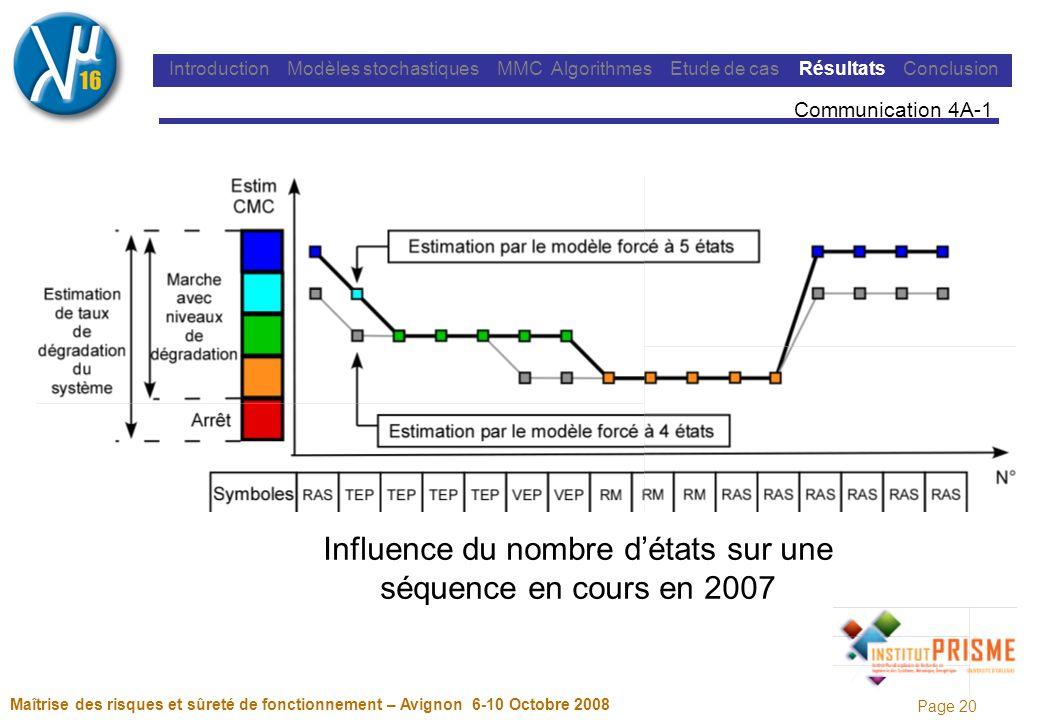 Page 20 Maîtrise des risques et sûreté de fonctionnement – Avignon 6-10 Octobre 2008 Introduction Modèles stochastiques MMC Algorithmes Etude de cas Résultats Conclusion Communication 4A-1 Influence du nombre détats sur une séquence en cours en 2007