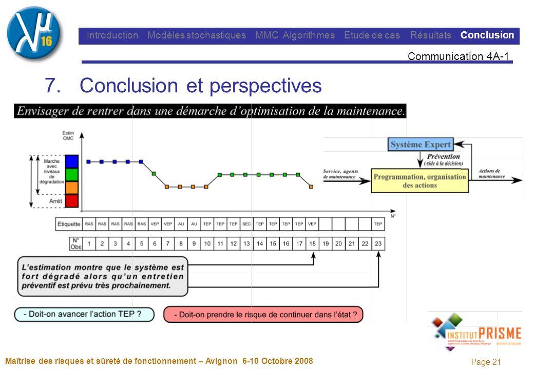 Page 21 Maîtrise des risques et sûreté de fonctionnement – Avignon 6-10 Octobre 2008 Introduction Modèles stochastiques MMC Algorithmes Etude de cas Résultats Conclusion 7.Conclusion et perspectives Communication 4A-1