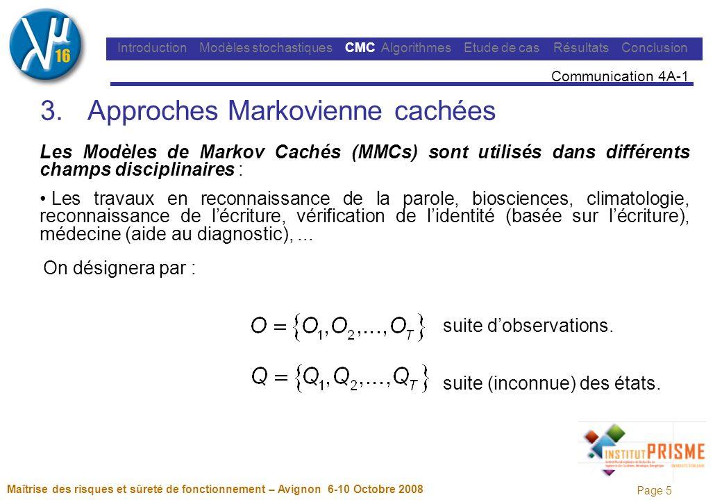Page 6 Maîtrise des risques et sûreté de fonctionnement – Avignon 6-10 Octobre 2008 Introduction Modèles stochastiques CMC Algorithmes Etude de cas Résultats Conclusion Communication 4A-1 Chaîne de Markov Cachée (CMC) discrète du 1 er ordre définie par : : ensemble des N états du modèle.