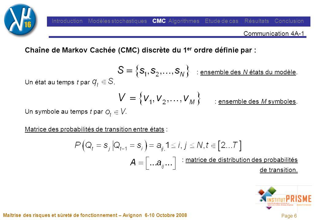 Page 17 Maîtrise des risques et sûreté de fonctionnement – Avignon 6-10 Octobre 2008 Introduction Modèles stochastiques MMC Algorithmes Etude de cas Résultats Conclusion Communication 4A-1 Modèle à topologie forcée