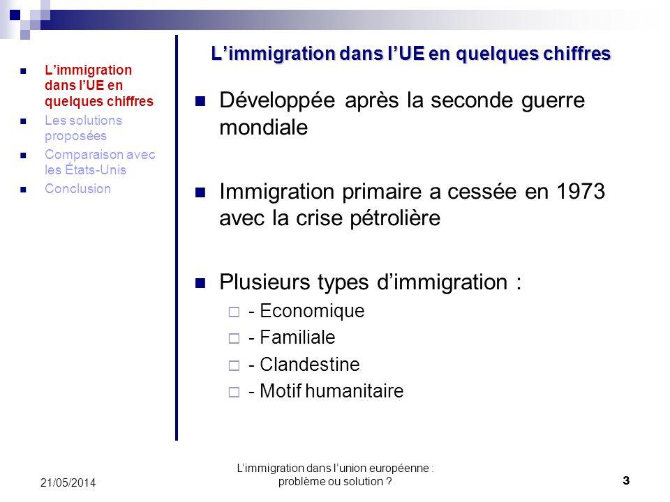 Limmigration dans lunion européenne : problème ou solution .