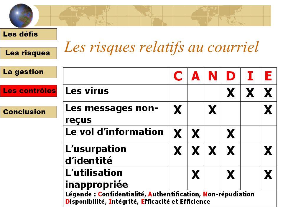Les défis Les risques La gestion Les contrôles Conclusion Risques et contrôles spécifiques à lorganisation numérique Le courriel Les sites Web promoti