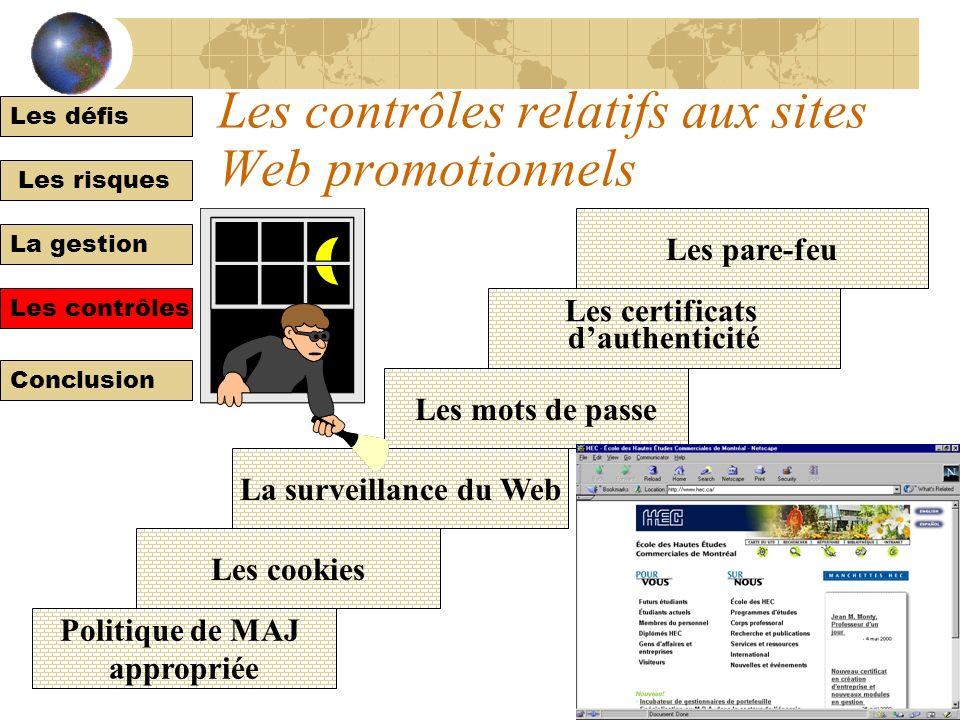 Les défis Les risques La gestion Les contrôles Conclusion Les risques relatifs au sites Web promotionnels Les contrôles