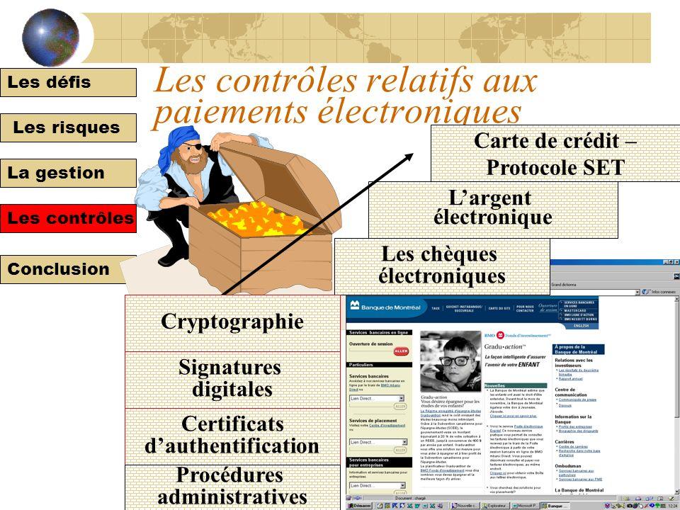 Les défis Les risques La gestion Les contrôles Conclusion Les risques relatifs aux paiements électroniques Les contrôles