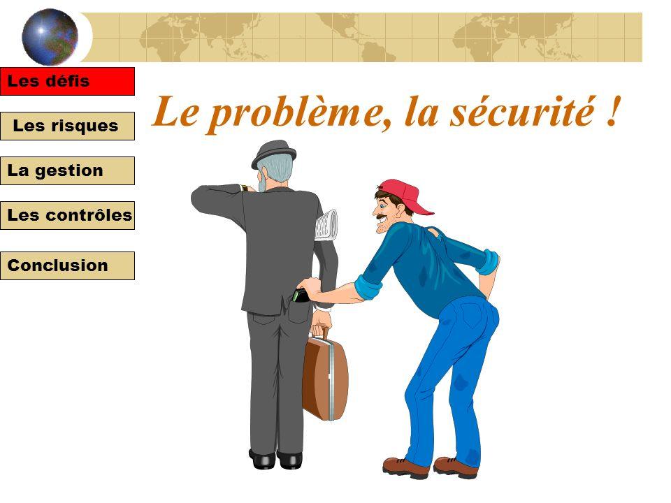 Les défis Les risques La gestion Les contrôles Conclusion Le problème, la sécurité ! Les défis