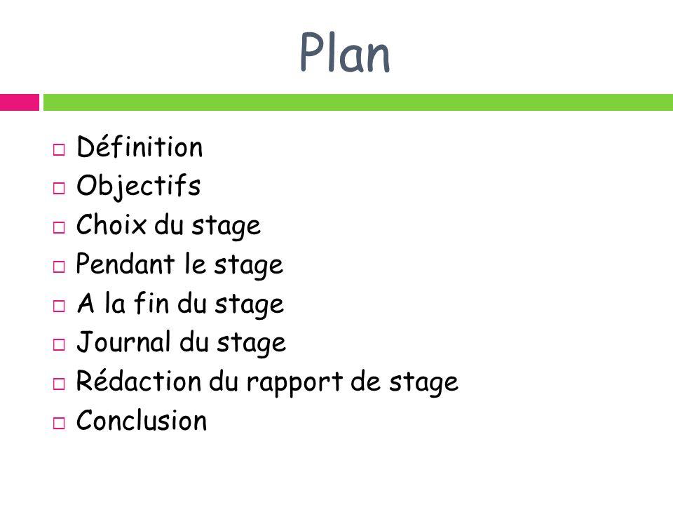 Plan Définition Objectifs Choix du stage Pendant le stage A la fin du stage Journal du stage Rédaction du rapport de stage Conclusion