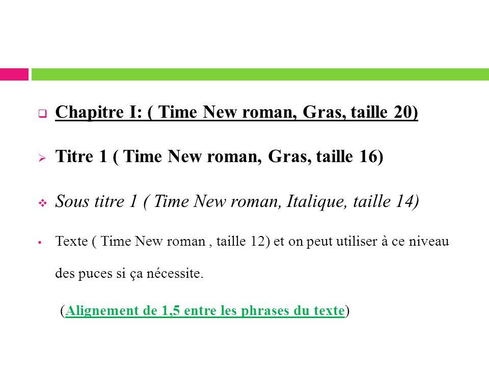 Chapitre I: ( Time New roman, Gras, taille 20) Titre 1 ( Time New roman, Gras, taille 16) Sous titre 1 ( Time New roman, Italique, taille 14) Texte (