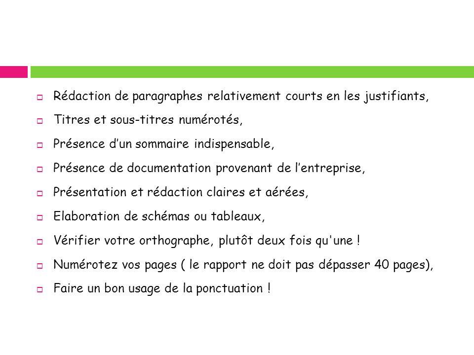 Rédaction de paragraphes relativement courts en les justifiants, Titres et sous-titres numérotés, Présence dun sommaire indispensable, Présence de doc