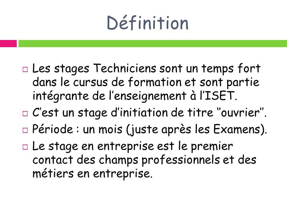 Définition Les stages Techniciens sont un temps fort dans le cursus de formation et sont partie intégrante de lenseignement à lISET. Cest un stage din