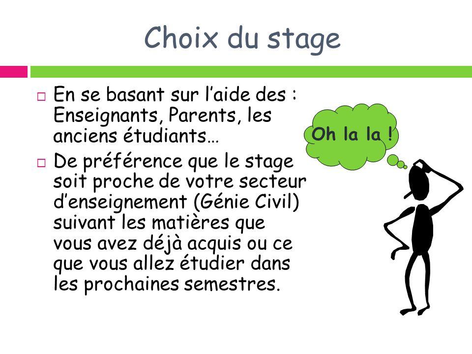 Choix du stage En se basant sur laide des : Enseignants, Parents, les anciens étudiants… De préférence que le stage soit proche de votre secteur dense