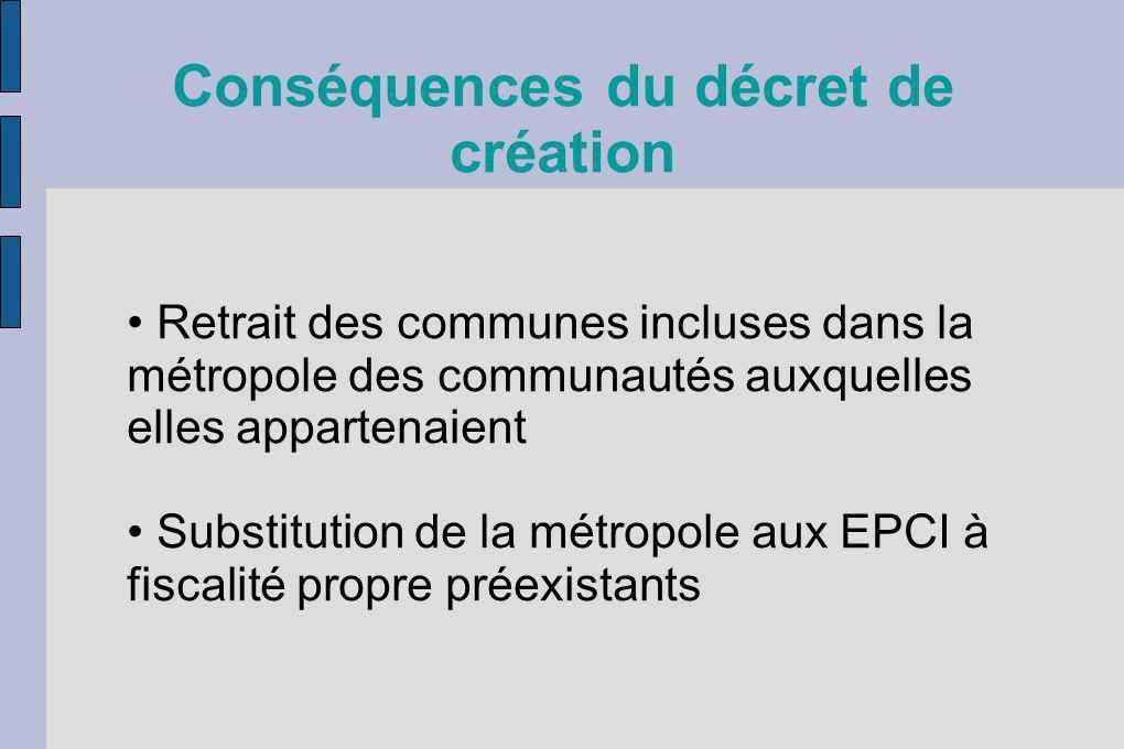 Conséquences du décret de création Retrait des communes incluses dans la métropole des communautés auxquelles elles appartenaient Substitution de la m