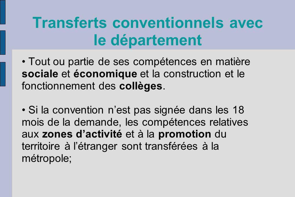 Transferts conventionnels avec le département Tout ou partie de ses compétences en matière sociale et économique et la construction et le fonctionneme