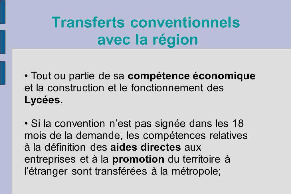 Transferts conventionnels avec la région Tout ou partie de sa compétence économique et la construction et le fonctionnement des Lycées. Si la conventi