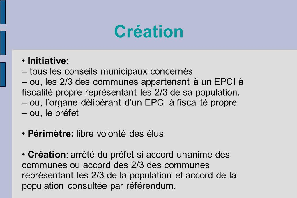 Création Initiative: – tous les conseils municipaux concernés – ou, les 2/3 des communes appartenant à un EPCI à fiscalité propre représentant les 2/3