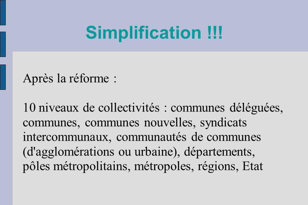 Simplification !!! Après la réforme : 10 niveaux de collectivités : communes déléguées, communes, communes nouvelles, syndicats intercommunaux, commun