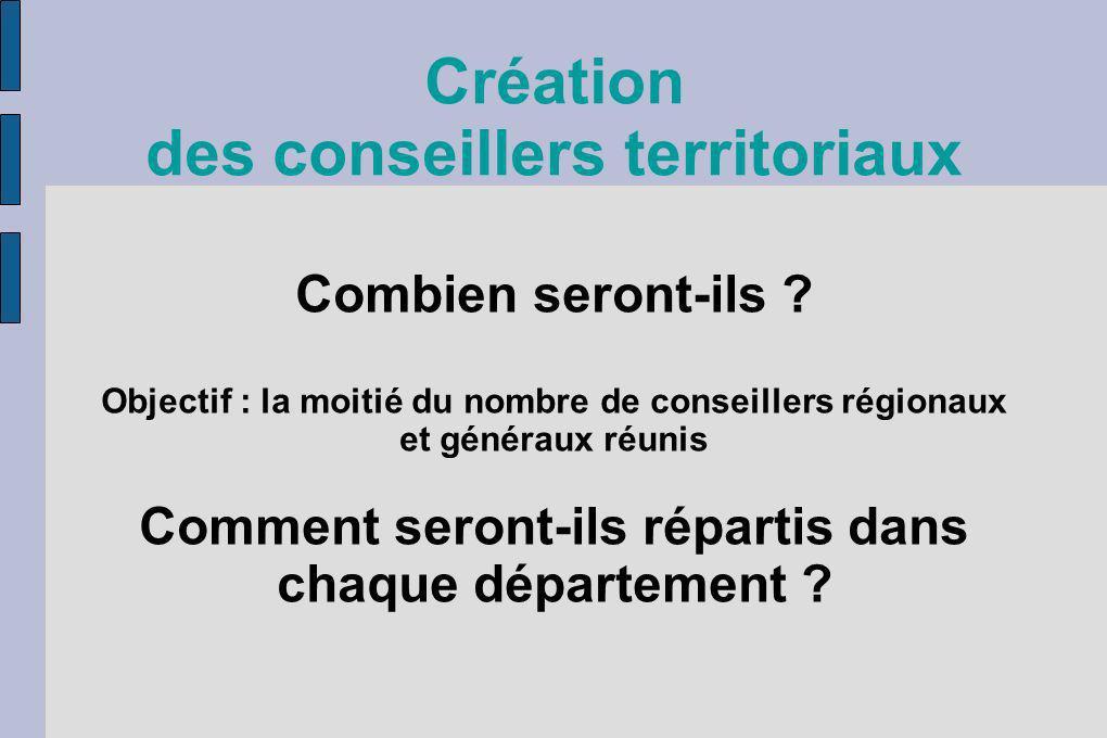 Création des conseillers territoriaux Combien seront-ils ? Objectif : la moitié du nombre de conseillers régionaux et généraux réunis Comment seront-i