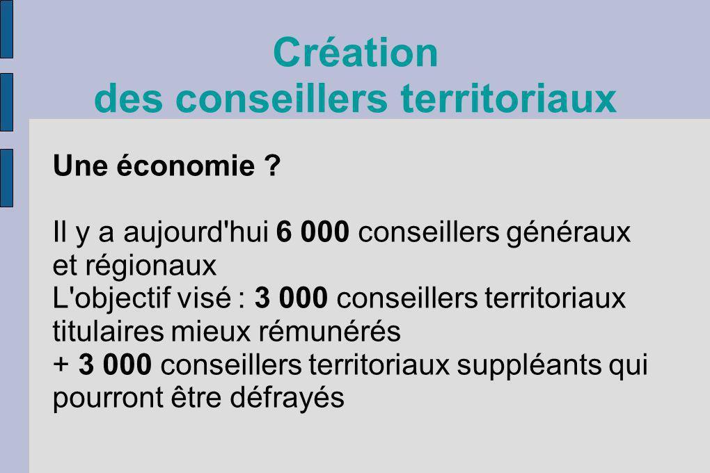 Création des conseillers territoriaux Une économie ? Il y a aujourd'hui 6 000 conseillers généraux et régionaux L'objectif visé : 3 000 conseillers te
