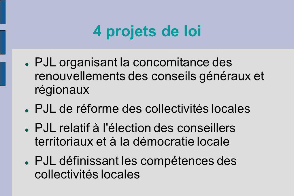 4 projets de loi PJL organisant la concomitance des renouvellements des conseils généraux et régionaux PJL de réforme des collectivités locales PJL re