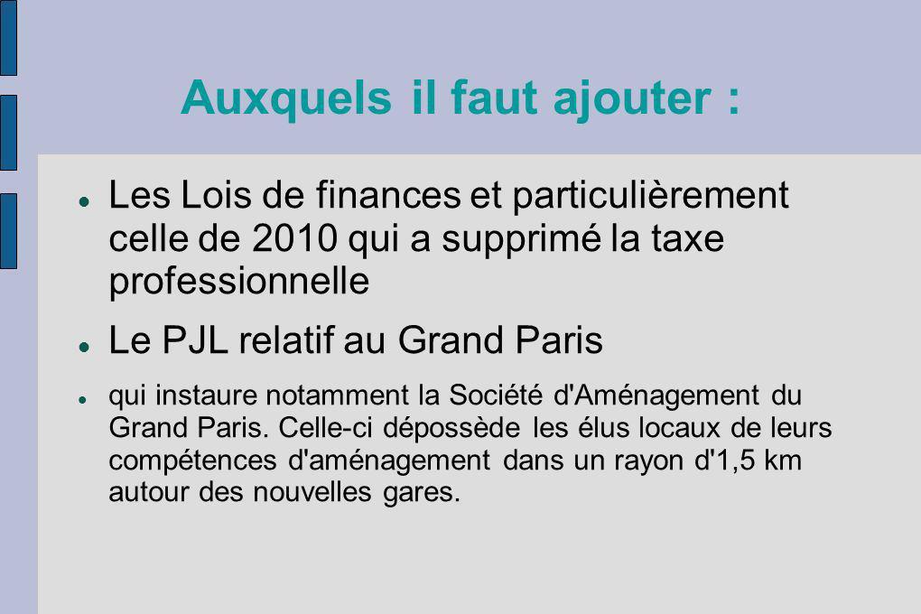 Auxquels il faut ajouter : Les Lois de finances et particulièrement celle de 2010 qui a supprimé la taxe professionnelle Le PJL relatif au Grand Paris