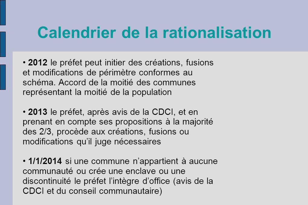Calendrier de la rationalisation 2012 le préfet peut initier des créations, fusions et modifications de périmètre conformes au schéma. Accord de la mo