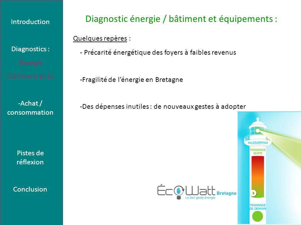 Diagnostic énergie / bâtiment et équipements : Quelques repères : - Précarité énergétique des foyers à faibles revenus -Fragilité de lénergie en Breta