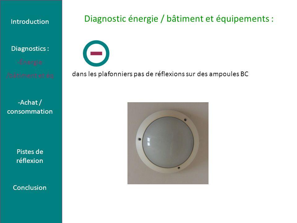 Diagnostic énergie / bâtiment et équipements : dans les plafonniers pas de réflexions sur des ampoules BC Introduction Diagnostics : -Énergie /bâtiment et éq -Achat / consommation Pistes de réflexion Conclusion