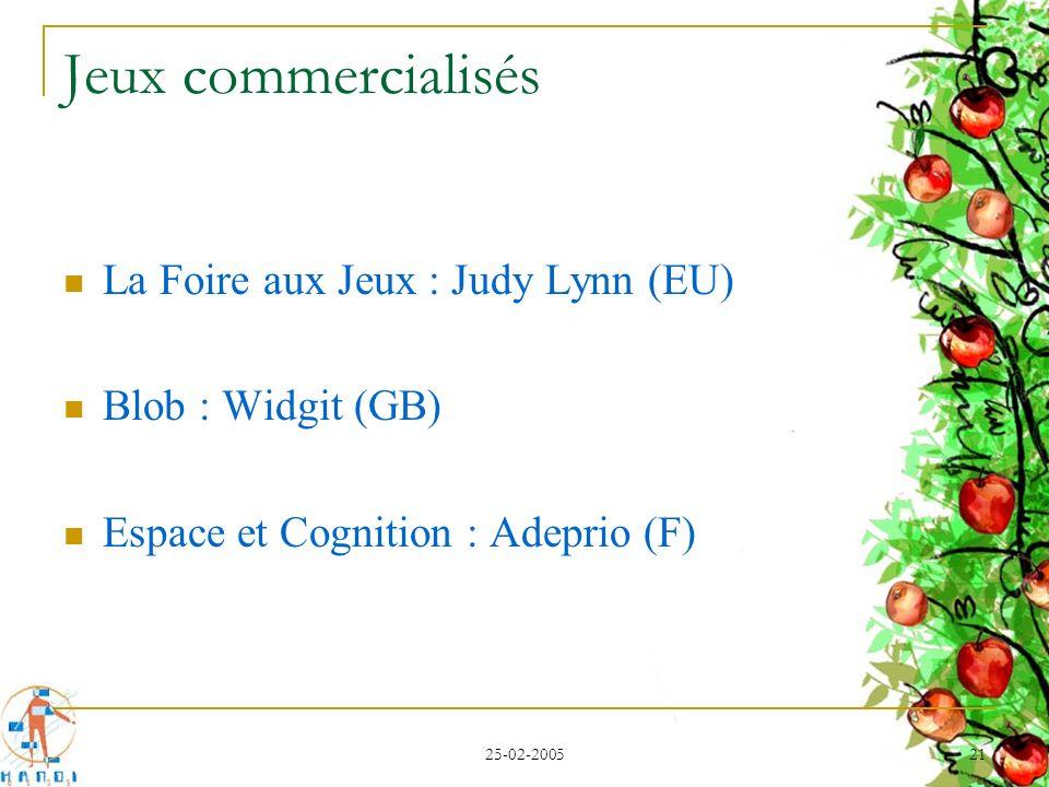 25-02-2005 21 Jeux commercialisés La Foire aux Jeux : Judy Lynn (EU) Blob : Widgit (GB) Espace et Cognition : Adeprio (F)