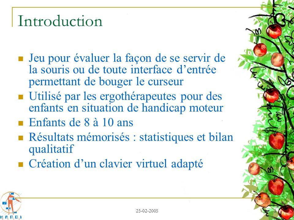 25-02-2005 3 Introduction Jeu pour évaluer la façon de se servir de la souris ou de toute interface dentrée permettant de bouger le curseur Utilisé pa