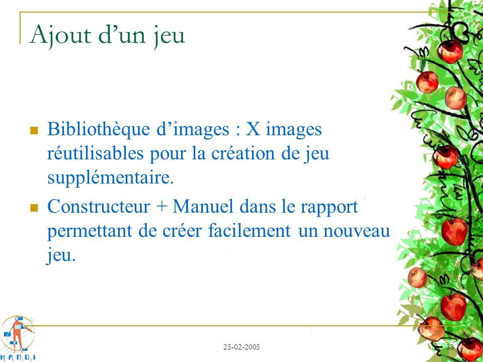 25-02-2005 33 Ajout dun jeu Bibliothèque dimages : X images réutilisables pour la création de jeu supplémentaire. Constructeur + Manuel dans le rappor
