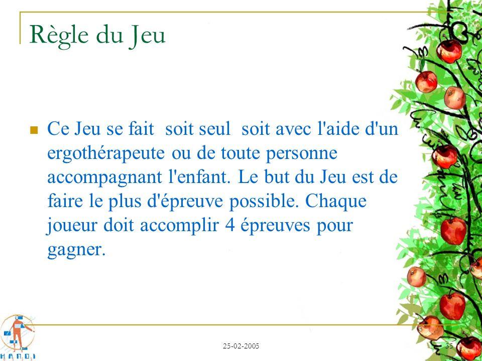 25-02-2005 35 Règle du Jeu Ce Jeu se fait soit seul soit avec l'aide d'un ergothérapeute ou de toute personne accompagnant l'enfant. Le but du Jeu est