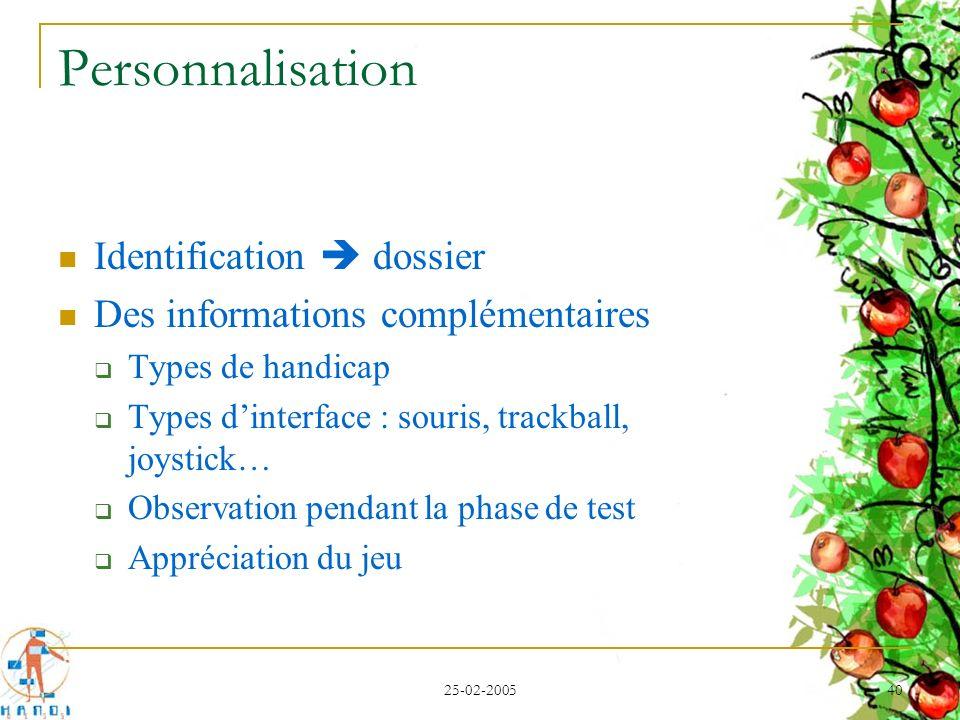 25-02-2005 40 Personnalisation Identification dossier Des informations complémentaires Types de handicap Types dinterface : souris, trackball, joystic