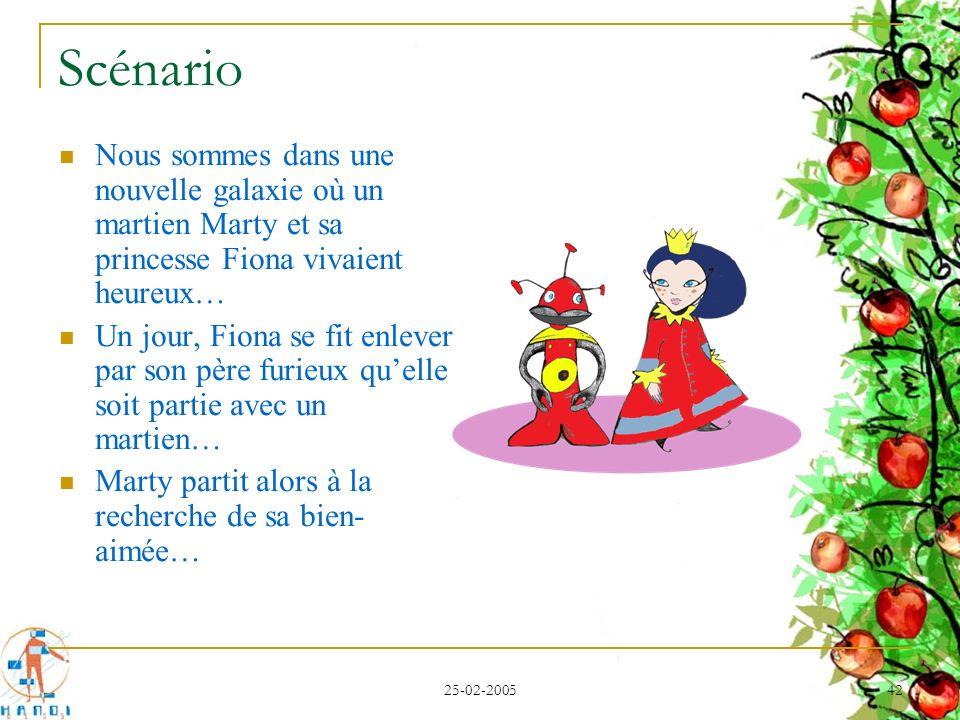 25-02-2005 42 Scénario Nous sommes dans une nouvelle galaxie où un martien Marty et sa princesse Fiona vivaient heureux… Un jour, Fiona se fit enlever