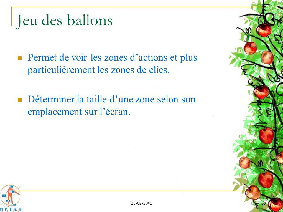 25-02-2005 59 Jeu des ballons Permet de voir les zones dactions et plus particulièrement les zones de clics. Déterminer la taille dune zone selon son